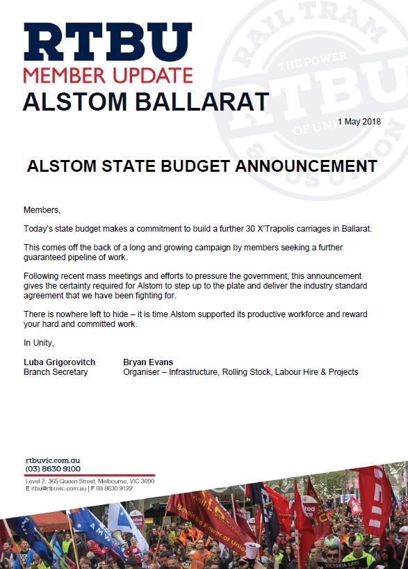 ALSTOM BALLARAT – STATE BUDGET ANNOUNCEMENT